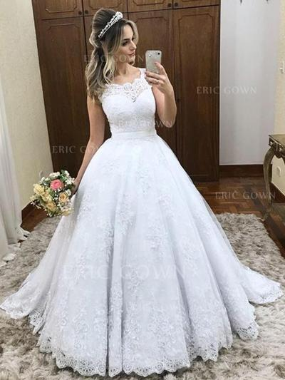 Ball-Gown Scoop Court Train Wedding Dresses With Lace (002218068)