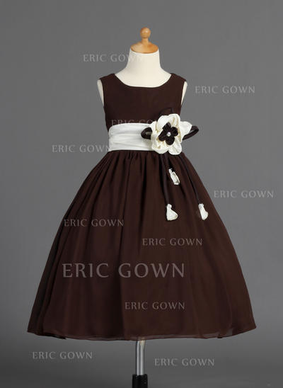 Modern Scoop Neck Ball Gown Flower Girl Dresses Tea-length Chiffon/Charmeuse Sleeveless (010014593)