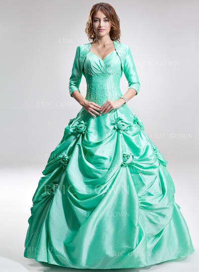 Ball-Gown Sweetheart Floor-Length Prom Dresses With Ruffle Beading Flower(s) (018135410)