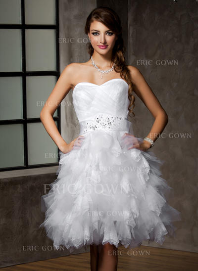 A-Line/Princess Sweetheart Knee-Length Wedding Dresses With Lace Beading Sequins Bow(s) Cascading Ruffles (002213264)