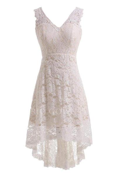 A-linjeformat Spets Ärmlös V-Ringning Knälång Asymmetrisk Bröllopsklänningar (002147845)