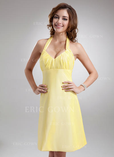 A-Line/Princess Taffeta Bridesmaid Dresses Ruffle Bow(s) Halter Sleeveless Knee-Length (007197462)