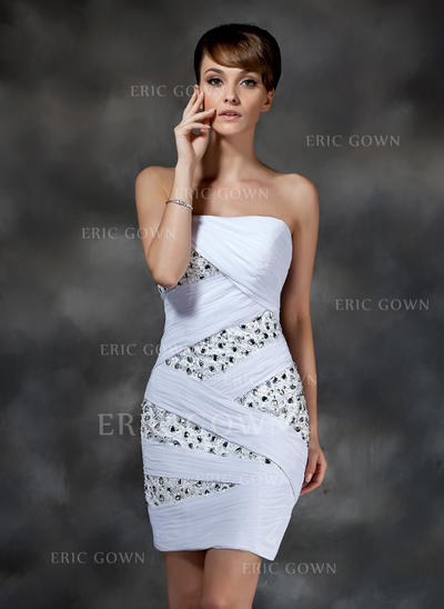 Sheath/Column Strapless Short/Mini Chiffon Cocktail Dresses With Ruffle Beading (016008321)