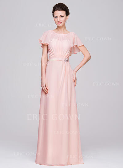 A-Line/Princess Scoop Neck Floor-Length Chiffon Mother of the Bride Dress With Ruffle Beading Sequins (008058406)