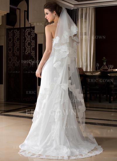 Chapel Bridal Veils Tulle One-tier Oval/Drop Veil With Lace Applique Edge Wedding Veils (006151522)