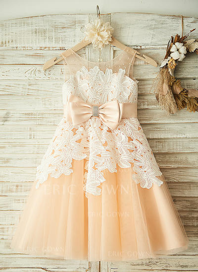 A-Line/Princess Tea-length Flower Girl Dress - Tulle/Lace Sleeveless Scoop Neck With Beading/Bow(s) (010104929)