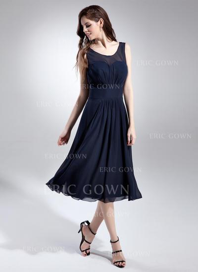 A-Line/Princess Chiffon Bridesmaid Dresses Ruffle Scoop Neck Sleeveless Knee-Length (007197658)