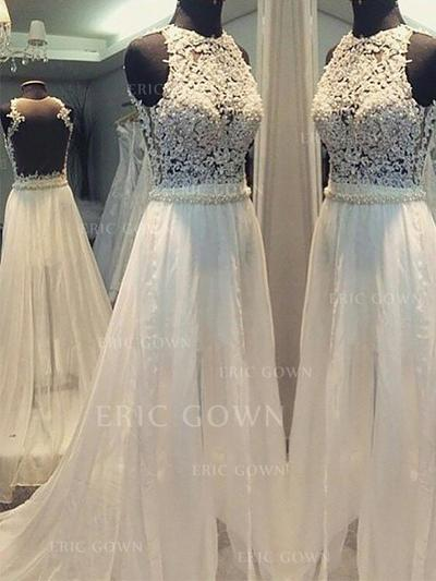 Flattering Scoop A-Line/Princess Wedding Dresses Sweep Train Chiffon Sleeveless (002210856)