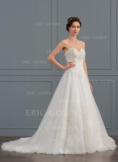 Ball-Gown Sweetheart Court Train Tulle Wedding Dress With Beading Sequins (002134393)