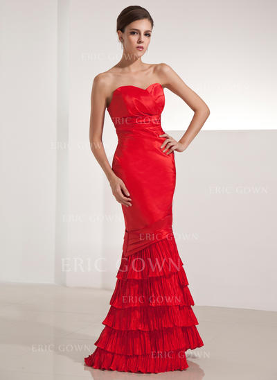 Trumpet/Mermaid Sweetheart Floor-Length Evening Dresses With Cascading Ruffles Pleated (017014251)