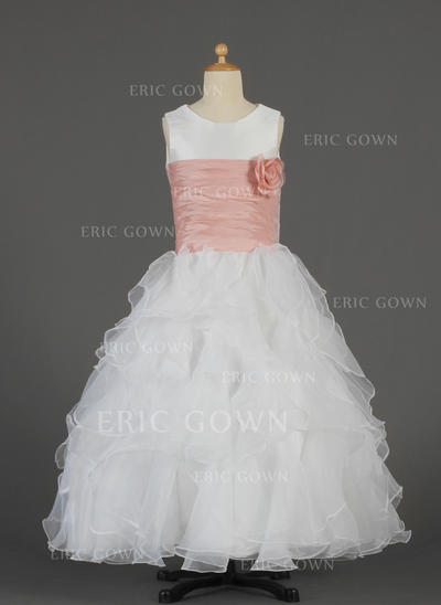 Luxurious Scoop Neck A-Line/Princess Flower Girl Dresses Floor-length Taffeta/Organza Sleeveless (010014632)