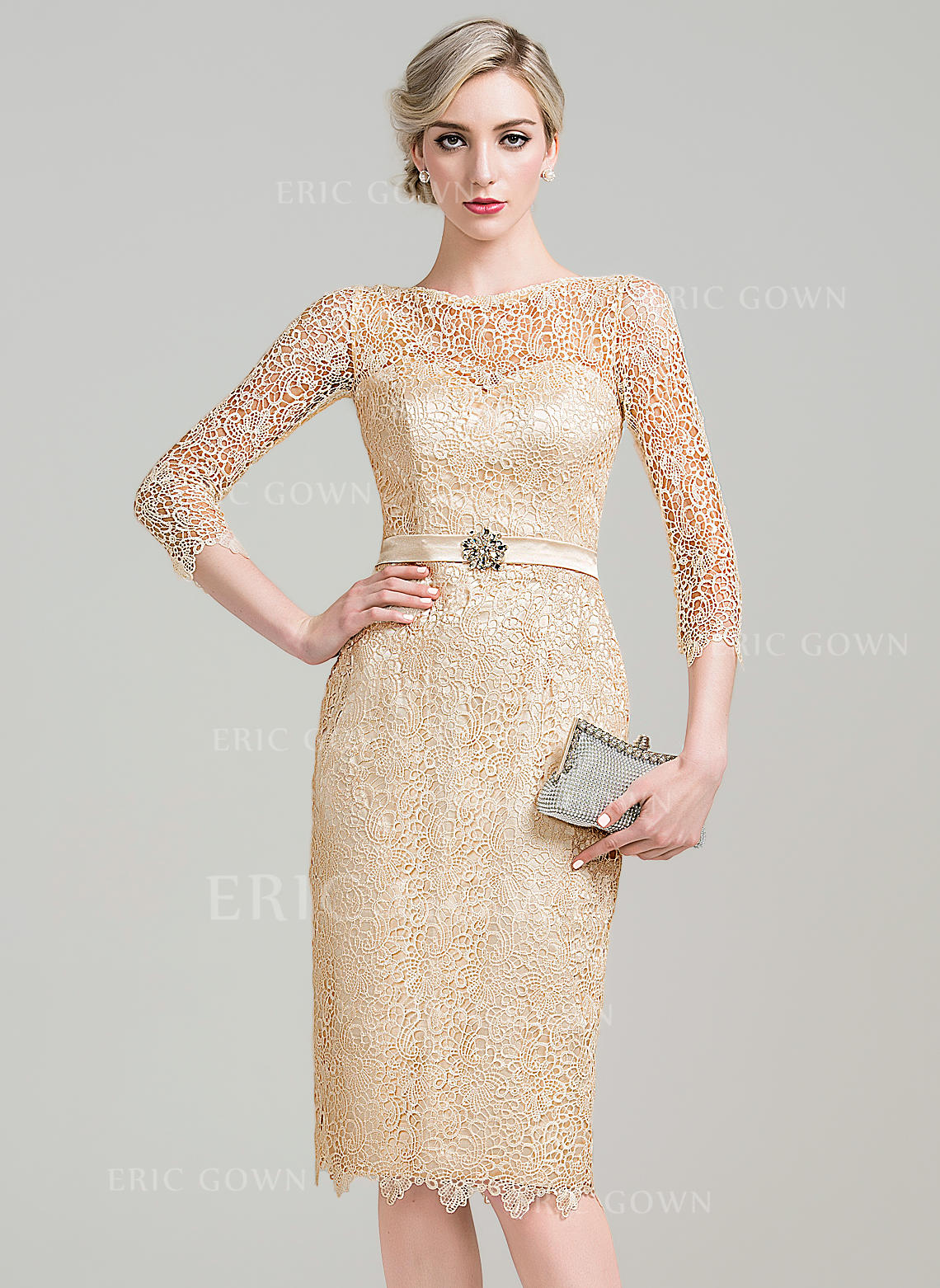 efd49ddc945 Sheath Column Lace 3 4 Sleeves Scoop Neck Knee-Length Zipper Up Mother.  Loading zoom