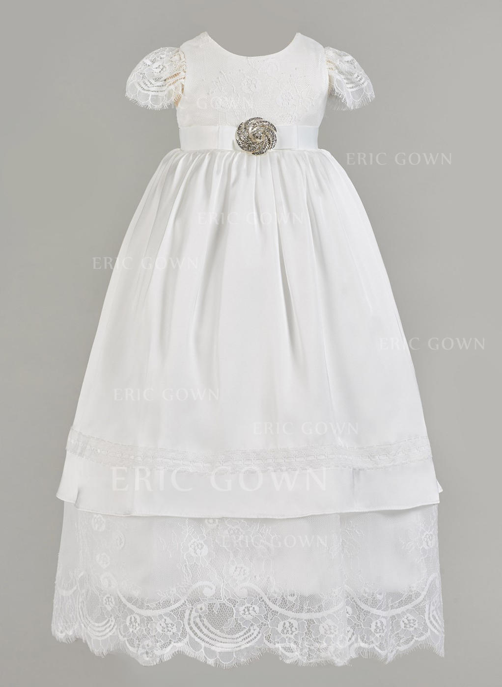 4971946d1 A-Line/Princess Scoop Neck Floor-length Satin Tulle Christening Gowns With  Rhinestone. Loading zoom