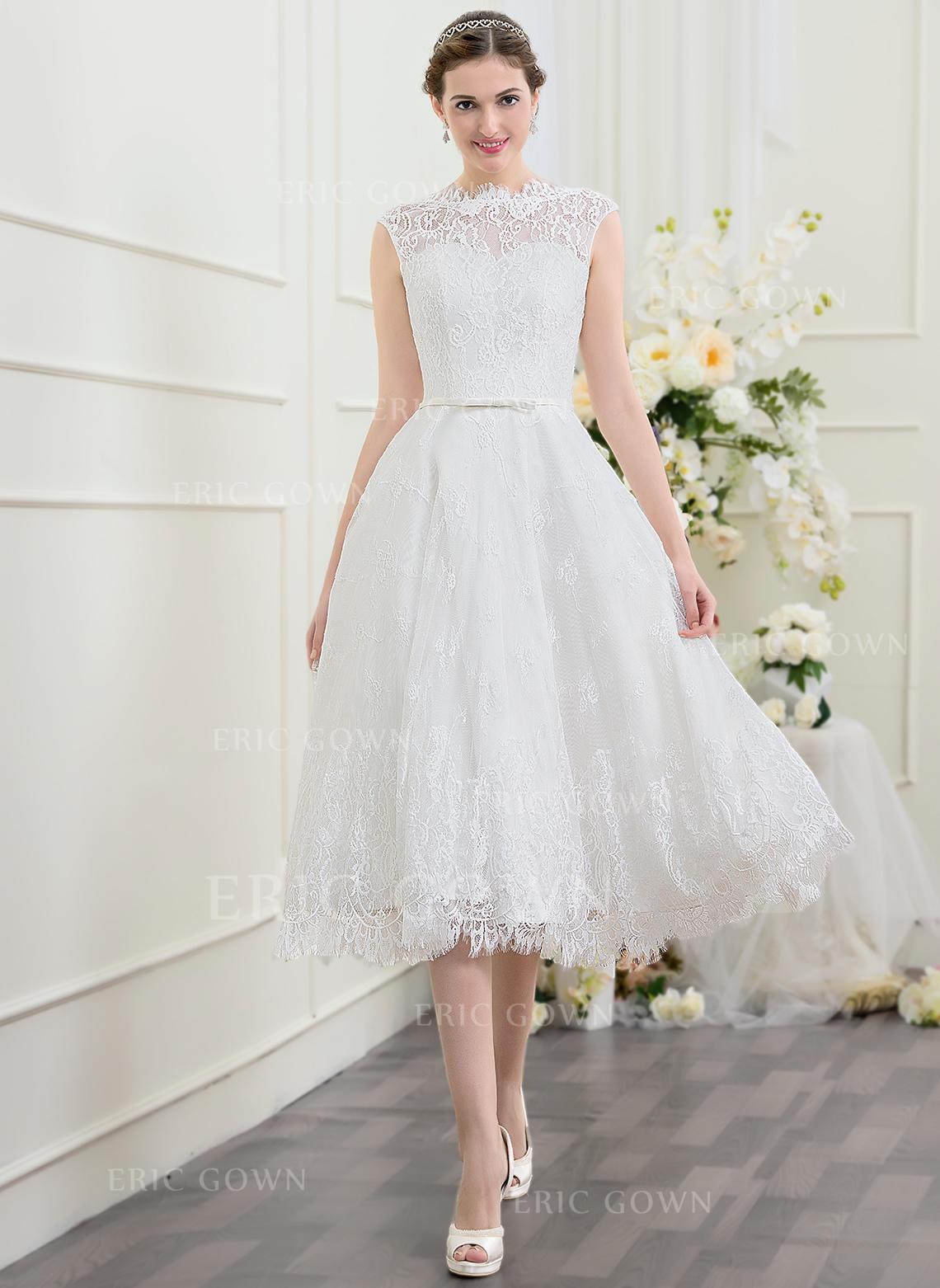 568d1b6bfdf Scoop A-Line Princess Wedding Dresses Lace Bow(s) Sleeveless Tea-. Loading  zoom