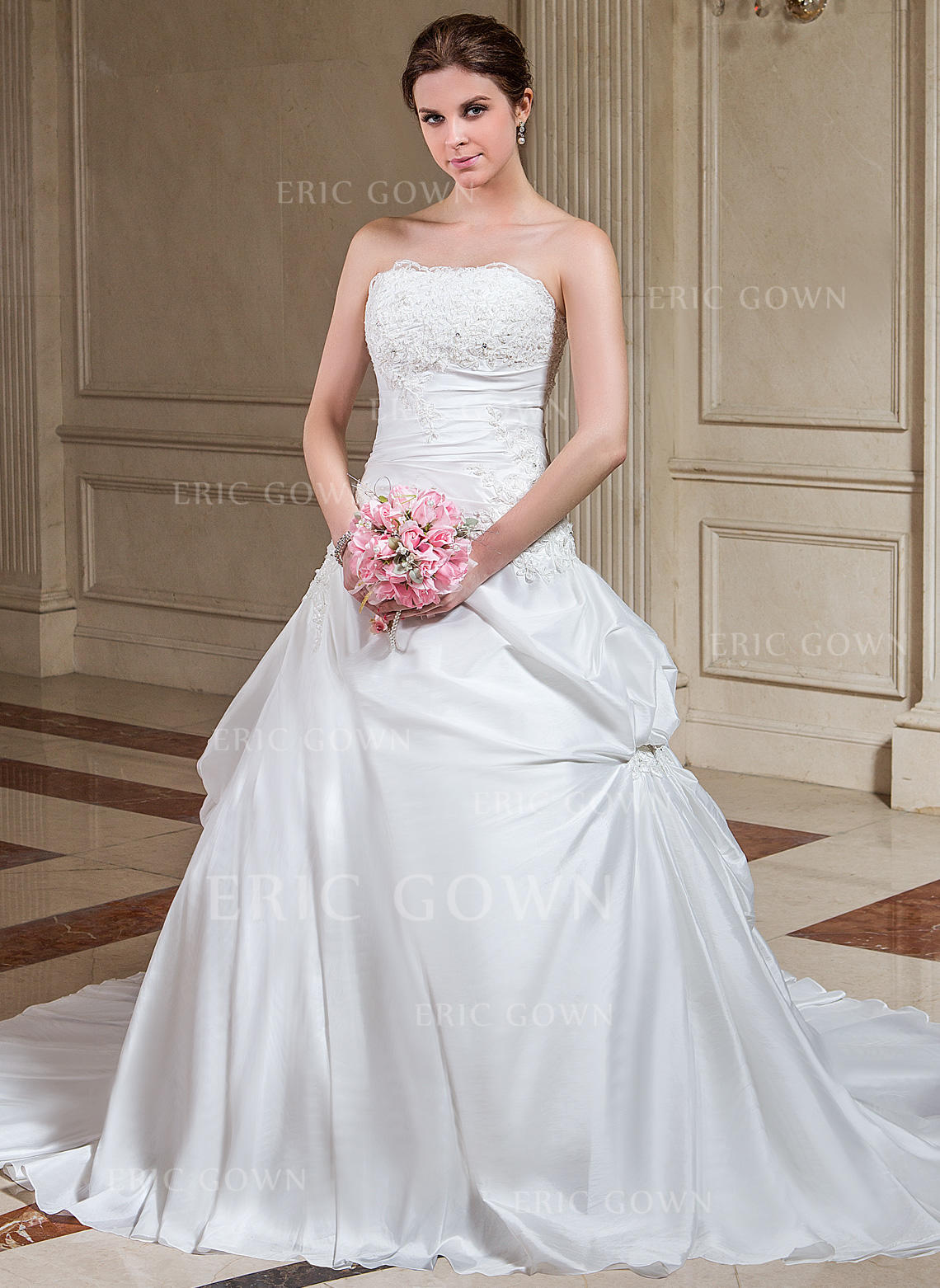 7c43904a926 Sexy Strapless A-Line Princess Wedding Dresses Court Train Taffeta  Sleeveless (002196860). Loading zoom