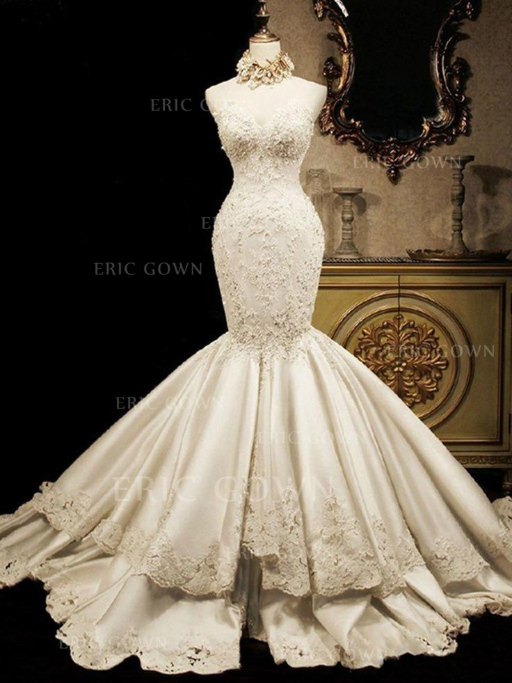 4b6057a8731 Trumpet Mermaid Sweetheart Cathedral Train Wedding Dresses With Beading  Appliques Lace Sequins (002147847). Loading zoom