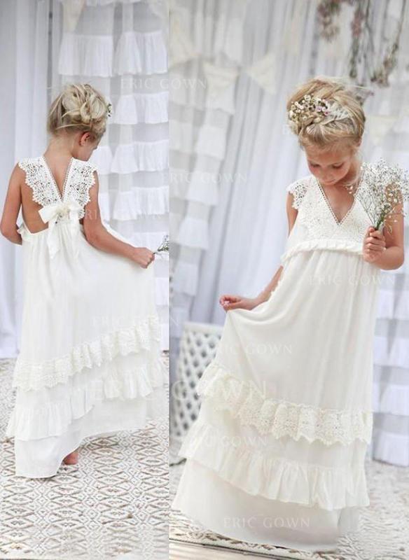 507708411e0 Flattering A-Line Princess Flower Girl Dresses Floor-length Chiffon Lace  Sleeveless. Loading zoom