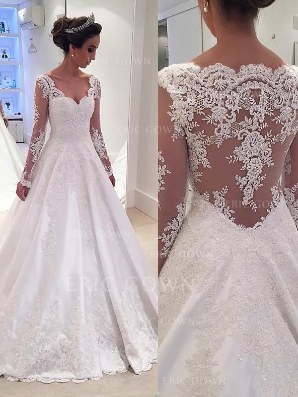 6cfa1d4b2285 Balklänning Satäng Spets Långa Ärmar V-Ringning Court släp  Bröllopsklänningar (002144831). Loading zoom