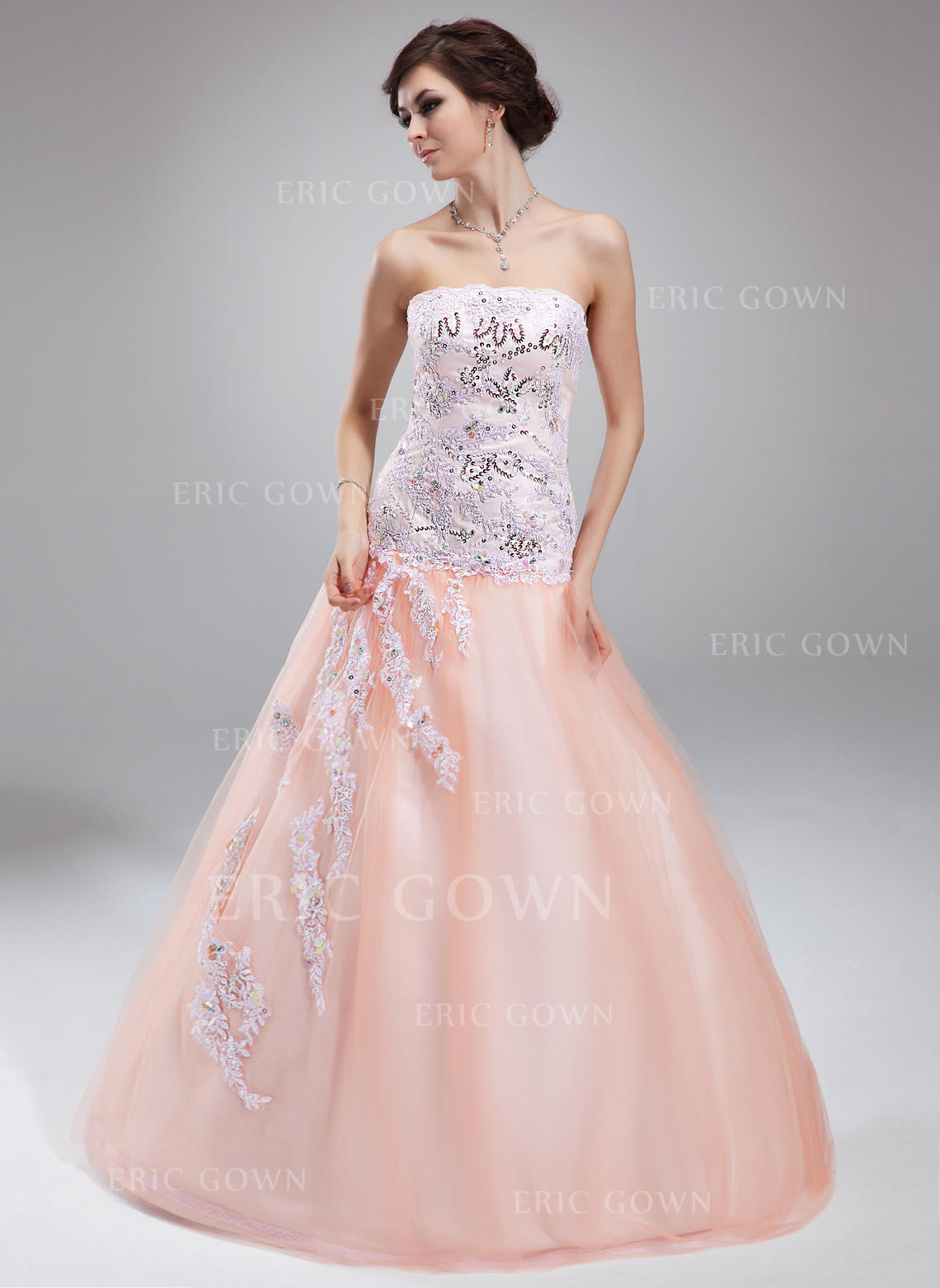 7d7cdc1228a Ball-Gown Tulle Prom Dresses Beading Appliques Lace Sequins Strapless  Sleeveless Floor-Length (. Loading zoom