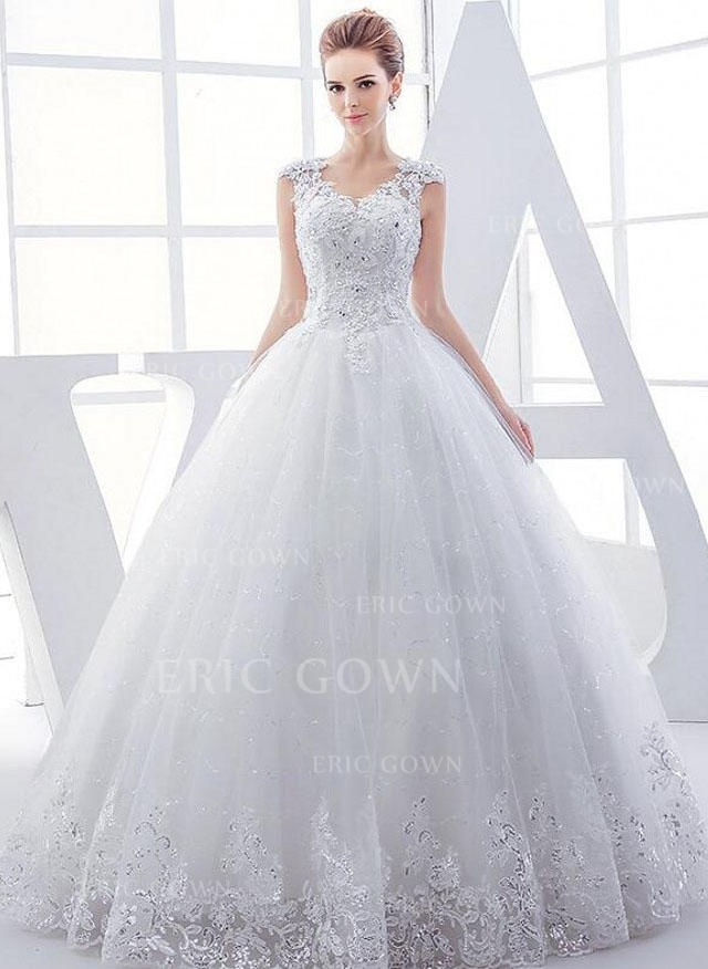 f88f51322447 Balklänning Tyll Ärmlös V-Ringning Golvlång Bröllopsklänningar (002147918).  Loading zoom