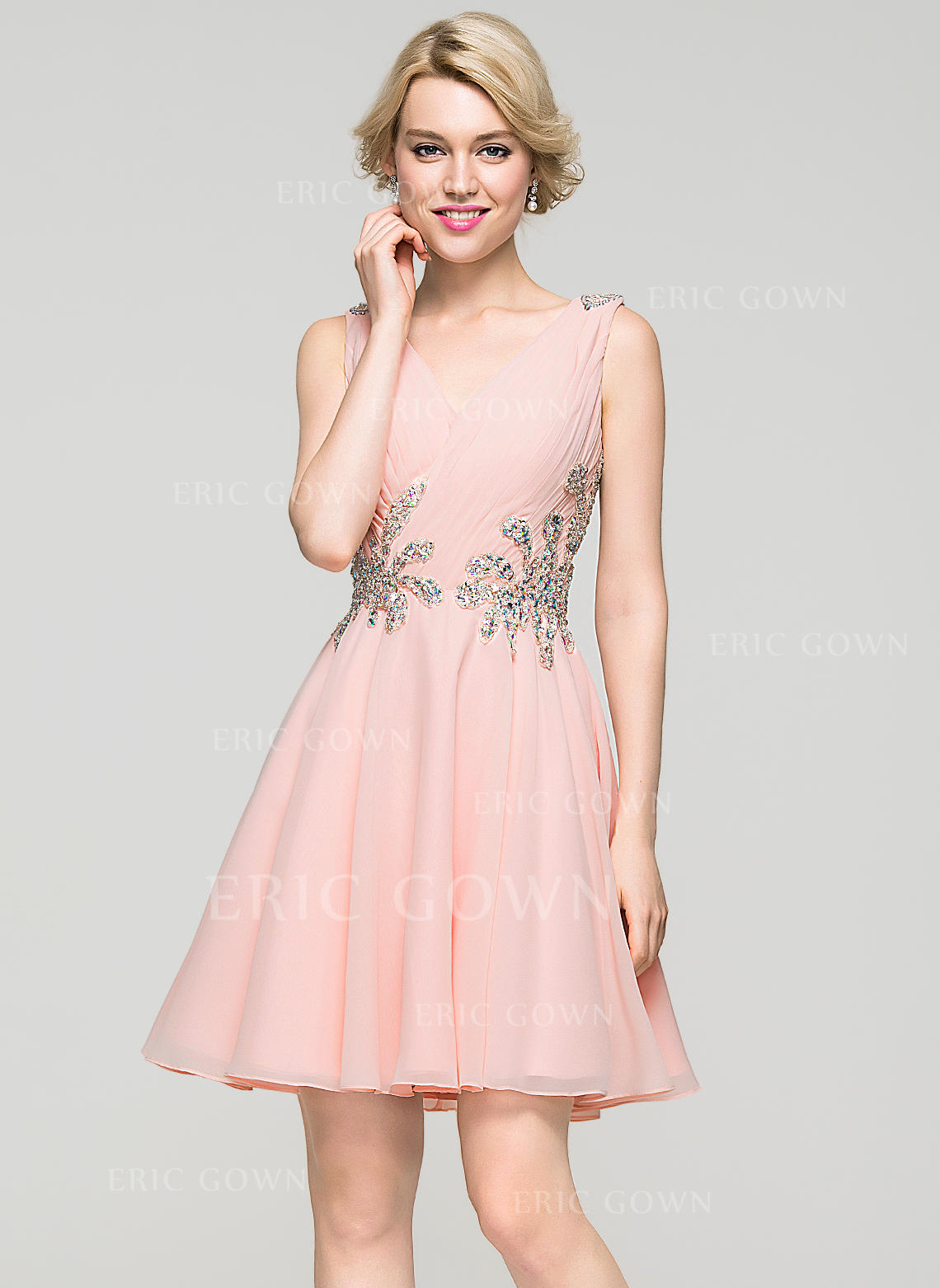493f853c106e A-Line/Princess V-neck Short/Mini Chiffon Homecoming Dresses With Ruffle. Loading  zoom