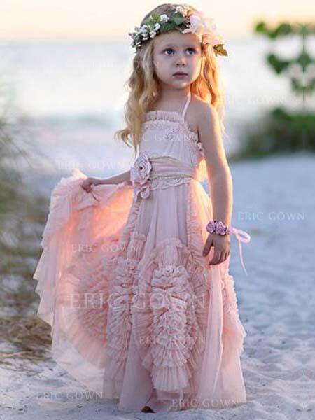 738460513cd Stunning Square Neckline A-Line Princess Flower Girl Dresses Floor-length  Chiffon Sleeveless. Loading zoom
