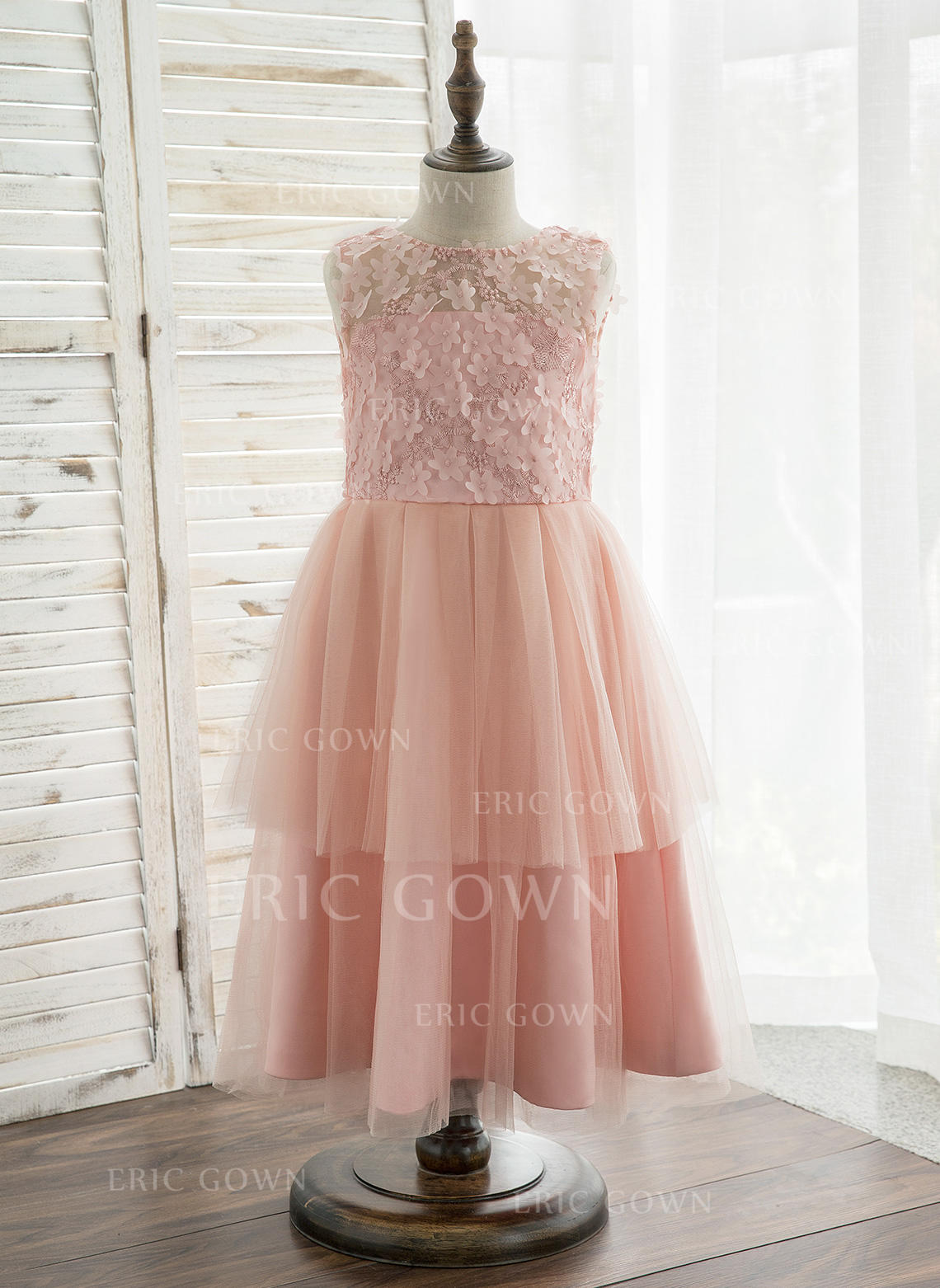 d0dae937857 A-Line/Princess Tea-length Flower Girl Dress - Tulle/Lace Sleeveless.  Loading zoom