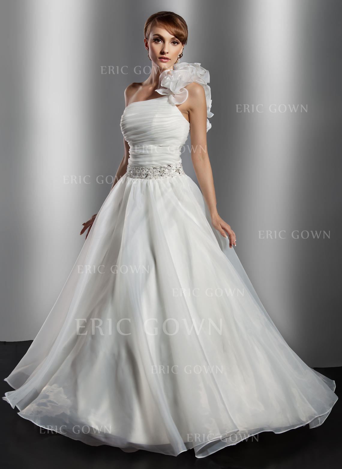 Delicate One Shoulder Ball-Gown Wedding Dresses Floor-Length Organza  Sleeveless (002211363). Loading zoom 117c55354
