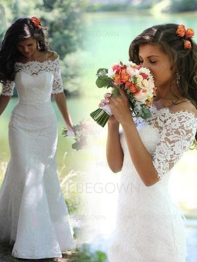 Chic Lace Wedding Dresses Trumpet/Mermaid Chapel Train Off-The-Shoulder Half Sleeves (002147797)