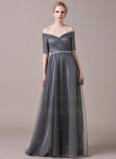 A-Linie/Princess-Linie Off-the-Schulter Bodenlang Tüll Abendkleid mit Rüschen Perlstickerei (017061255)