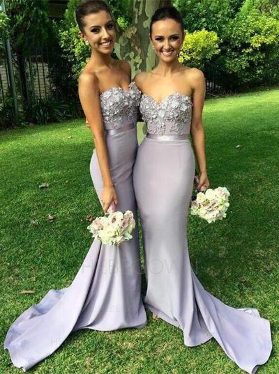 Bridesmaid Dresses Sweetheart Lace Jersey Trumpet/Mermaid Sleeveless Sweep Train (007145111)