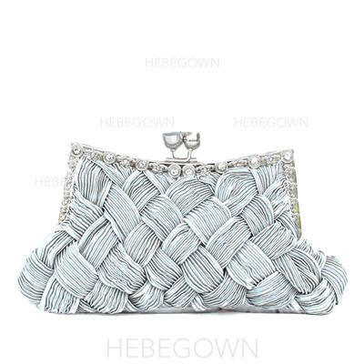 Clutches Wedding/Ceremony & Party Silk Kiss lock closure Charming Clutches & Evening Bags (012184943)