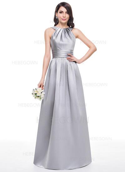 A-Linie/Princess-Linie U-Ausschnitt Bodenlang Satin Brautjungfernkleid mit Rüschen (007060609)