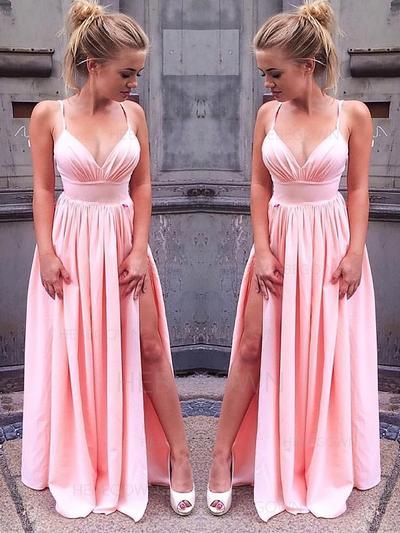 Fashion Evening Dresses Floor-Length A-Line/Princess Sleeveless V-neck (017216990)