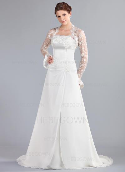 Chiffong A-linjeformat Court släp Axelbandslös Bröllopsklänningar Ärmlös (002000042)