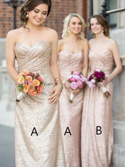 Bridesmaid Dresses Sweetheart Sequined A-Line/Princess Sleeveless Floor-Length (007145119)