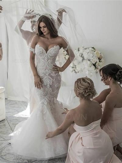 Modern Organza Wedding Dresses Trumpet/Mermaid Chapel Train Off-The-Shoulder Sleeveless (002210827)