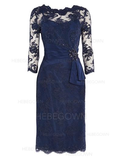 Lace 3/4 Sleeves Mother of the Bride Dresses Scoop Neck Sheath/Column Beading Sequins Knee-Length (008146403)