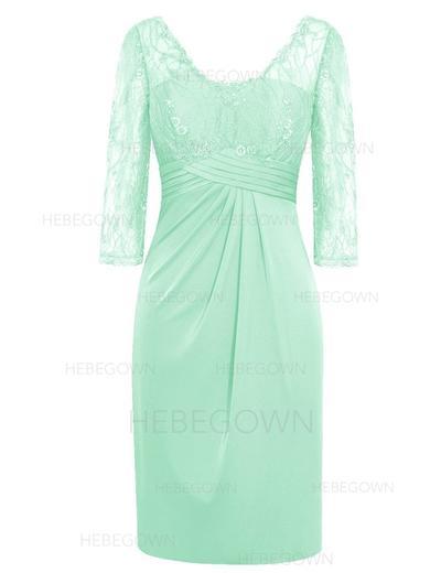 Chiffon 3/4 Sleeves Mother of the Bride Dresses V-neck Sheath/Column Ruffle Knee-Length (008146343)