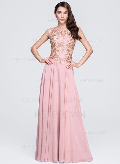 A-Linie/Princess-Linie U-Ausschnitt Bodenlang Chiffon Abendkleid mit Applikationen Spitze Pailletten (017071589)