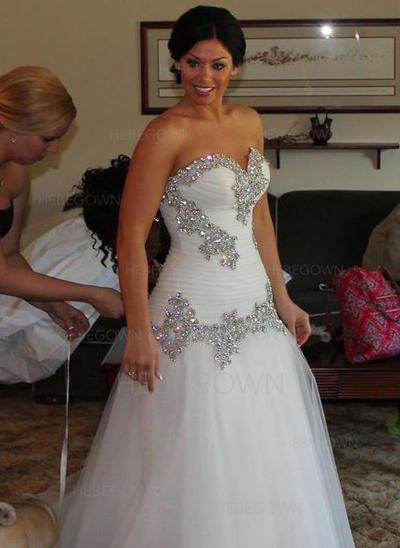 Utsökt Tyll Bröllopsklänningar A-linjeformat Golvlång Älsklingsringning Ärmlös (002147836)