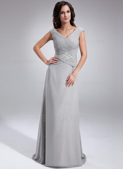 Chiffon Sleeveless Mother of the Bride Dresses Off-the-Shoulder A-Line/Princess Ruffle Beading Sequins Sweep Train (008005681)