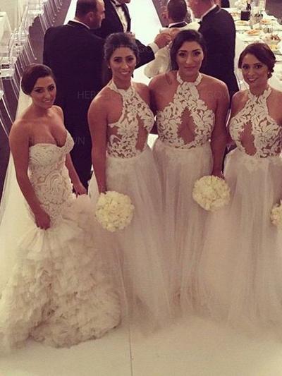Bridesmaid Dresses Halter A-Line/Princess Sleeveless Floor-Length (007211684)