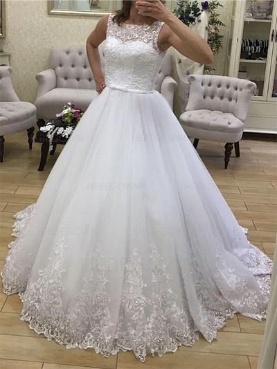 Sweetheart Tulle Wedding Dresses Ball-Gown Court Train Scoop Sleeveless (002213544)
