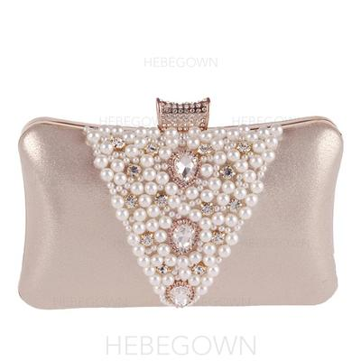 Clutches/Wristlets Wedding/Ceremony & Party Satin/Crystal/ Rhinestone/Alloy Clip Closure Shining Clutches & Evening Bags (012186334)