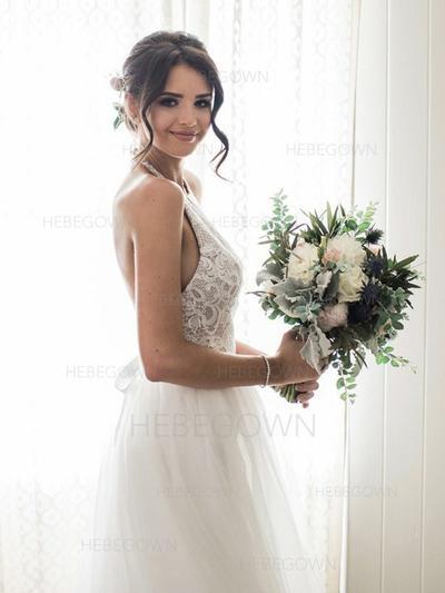 Simple Tulle Wedding Dresses A-Line/Princess Sweep Train Halter Sleeveless (002213522)