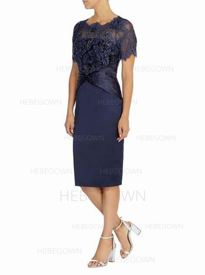 Satin Lace Short Sleeves Mother of the Bride Dresses Scoop Neck Sheath/Column Knee-Length (008146314)