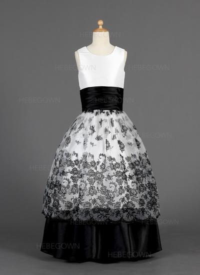 Prinzessin Duchesse-Linie Organza/Charmeuse Blumenmädchenkleider Bodenlang U-Ausschnitt Ärmellos (010014627)