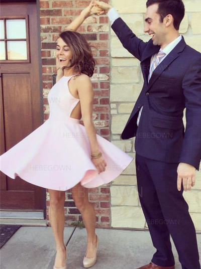 A-Line/Princess Satin Homecoming Dresses Halter Sleeveless Short/Mini (022212333)