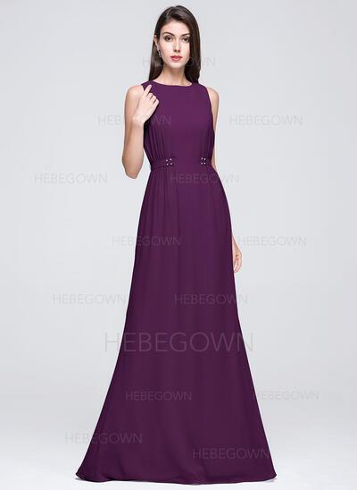 A-Linie/Princess-Linie U-Ausschnitt Bodenlang Chiffon Brautjungfernkleid mit Rüschen Perlstickerei (007072250)